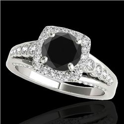 1.75 CTW Certified VS Black Diamond Solitaire Halo Ring 10K White Gold - REF-97F8N - 34313
