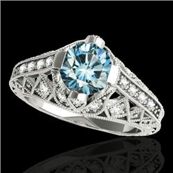 1.25 CTW Si Certified Blue Diamond Solitaire Antique Ring 10K White Gold - REF-167H3A - 34689