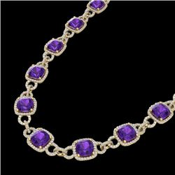 66 CTW Amethyst & Micro VS/SI Diamond Eternity Necklace 14K Yellow Gold - REF-794A5X - 23037