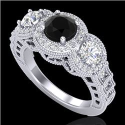 2.16 CTW Fancy Black Diamond Solitaire Art Deco 3 Stone Ring 18K White Gold - REF-254N5Y - 37667