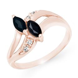0.74 CTW Blue Sapphire & Diamond Ring 10K Rose Gold - REF-18H2A - 12715
