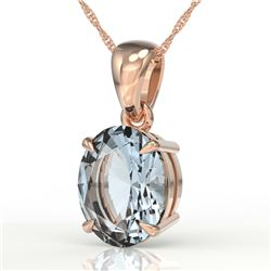 3.50 CTW Sky Blue Topaz Designer Inspired Solitaire Necklace 14K Rose Gold - REF-29M8H - 21885