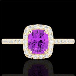 1.25 CTW Amethyst & Micro Pave VS/SI Diamond Halo Ring 10K Yellow Gold - REF-34K5W - 22897