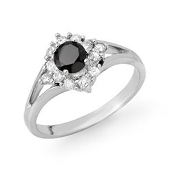 0.85 CTW VS Certified Black & White Diamond Ring 18K White Gold - REF-56W9F - 11839