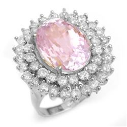 12.08 CTW Kunzite & Diamond Ring 18K White Gold - REF-290H9A - 14336