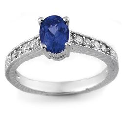 1.02 CTW Blue Sapphire & Diamond Ring 14K White Gold - REF-29X5T - 14107