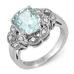 3.25 CTW Aquamarine & Diamond Ring 10K White Gold - REF-53F3N - 11230
