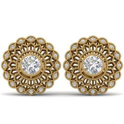 1.5 CTW Certified VS/SI Diamond Art Deco Stud Earrings 14K Yellow Gold - REF-204K2W - 30557