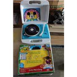 MICKEY MOUSE RECORD PLAYER AND CRAYOLA PLAY SET