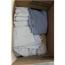 LARGE BOX OF LINENS AND TOWELS
