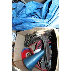 BOX OF JUMPER CABLES TARP FUNNELS AND STRAP