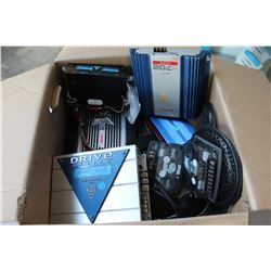 BOX OF CAR AUDIO AMPS ETC