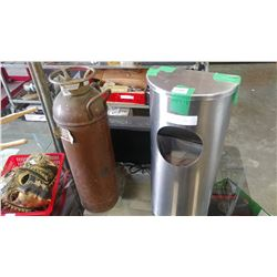 ANTIQUE FIRE COPPER FIRE EXTINGUISHER AND STAINLESS WASTE BIN