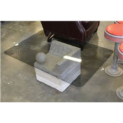 DESIGNER STONE LOOK GLASSTOP COFFEE AND ENDTABLE