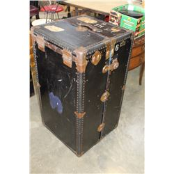 BLACK METAL WARDROBE TRUNK WITH DRAWERS