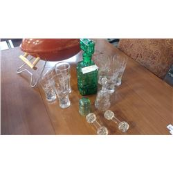 GREEN DECANTER BEER GLASSES CRYSTAL ETC