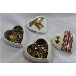 TWO HEART SHAPE DRESSER BOXES WITH CONTENTS