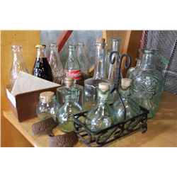 LOT OF GREEN GLASS BOTTLES AND COKE COLLECTIBLE BOTTLES ETC