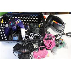 BASKET OF VIDEOGAME CONTROLLERS