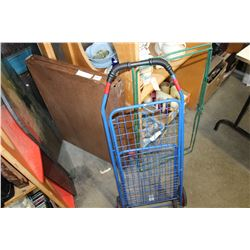 FOLDING TABLE AND TWO SHOPPING CARTS