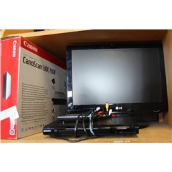 LG 19 INCH TV WITH DVD PLAYER AND CANON SCANNER