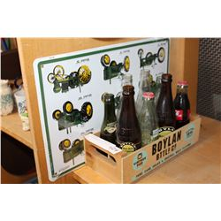 BOX OF BOTTLES AND TRACTOR TIN SIGN