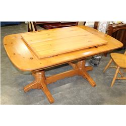 PINE TRESTLE BASE DINING TABLE WITH 2 LEAFS AND 6 CHAIRS