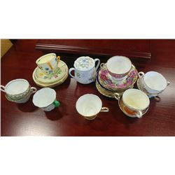 LOT OF AINSLEY AND OTHER CHINA CUPS AND SAUCERS AND SHELLEY LIDDED DISH