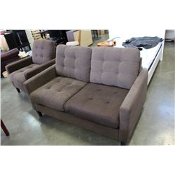 BROWN FABRIC LOVESEAT AND CHAIR