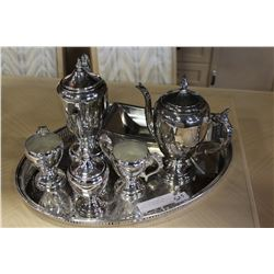 7 PIECES SILVER PLATE TEA SERVICE AND SERVING TRAY