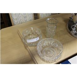 TWO PINWHEEL CRYSTAL BOWLS AND VASE