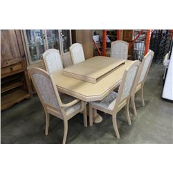WHITE DINING TABLE WITH LEAF AND SIX CHAIRS