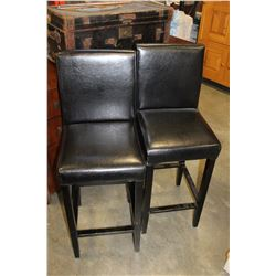 2 BLACK LEATHER BARSTOOLS
