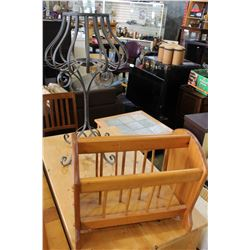 METAL PLANTSTAND AND WOOD MAGAZINE RACK