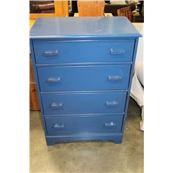 PAINTED BLUE MAPLE 4 DRAWER HIGHBOY