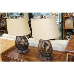 TWO WICKER TABLE LAMPS
