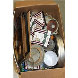 BOX OF PICTURE FRAMES POTTERY AND FILM REEL CASE