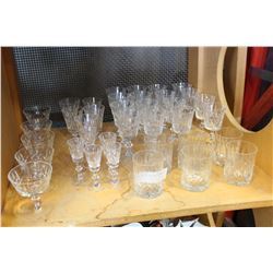 SHELF LOT OF CRYSTAL STEMWARE