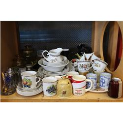 SHELF LOT OF MISC HOUSEWARES