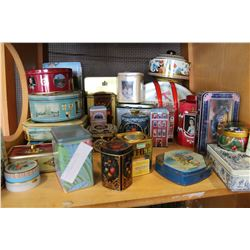 SHELF OF COLLECTIBLE TINS
