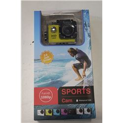NEW SPORTS ACTION CAMERA, 1080P, WATERPROOF TO 30M, WITH ACCESSORIES AND MOUNTS RETAIL $149