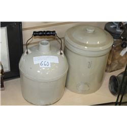 ONE GALLON CROCK WITH LID AND BALE HANDLED CROCK
