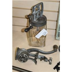 ANTIQUE BUTTER CHURN AND MEAT GRINDER