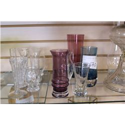 LOT OF ETCHED AND CRSYTAL VASES