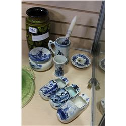 LOT OF DELFT BLAU POTTERY AND GERMAN VASE