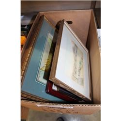 SMALL BOX OF VARIOUS ART WORK