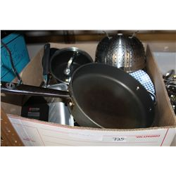 LARGE BOX OF PANS AND POTS