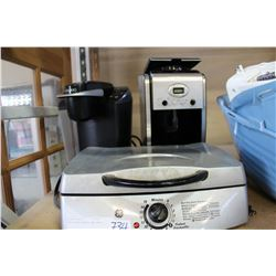 TWO COFFEE MAKERS AND GRILL