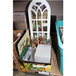 BOX OF DECORATIVE ITEMS AND WOOD CATS AND MIRROR