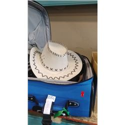LUGGAGE WITH PURSES COWBOY HATS AND CONTAINER